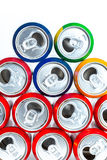 Aluminum cans. Empty opened aluminum cans isolated on white background royalty free stock images
