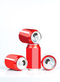 Aluminum cans. Empty opened aluminum cans isolated on white background royalty free stock image
