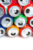 Aluminum cans. Empty opened aluminum cans isolated on white background stock photos