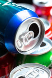 Aluminum cans. Empty opened aluminum cans isolated on white background royalty free stock photography