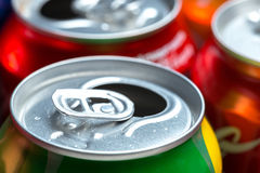 Aluminum cans. Empty opened aluminum cans isolated on white background stock image