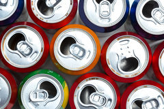 Aluminum cans. Empty opened aluminum cans isolated on white background royalty free stock photos