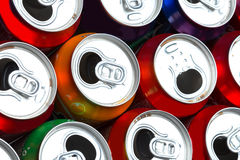 Aluminum cans. Empty opened aluminum cans isolated on white background stock photography