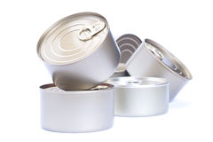Aluminum cans food,. Pile of Aluminum cans food,  isolated white background Royalty Free Stock Photography