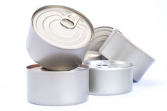 Aluminum cans food,. Pile of Aluminum cans food,  isolated white background Stock Photo