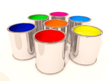 Aluminum cans of paint color Royalty Free Stock Images