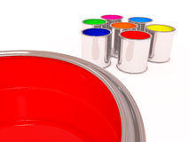 Aluminum cans of paint color Royalty Free Stock Photography