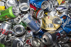 Aluminum cans for recycling Royalty Free Stock Images