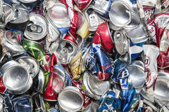 Aluminum cans for recycling. The recycling center sorts and bales the beverage pop, soda and beer cans and stores for recycling Stock Images