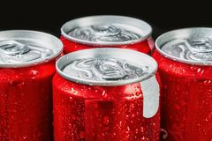 Aluminum cans of soda. Soft focus royalty free stock photos