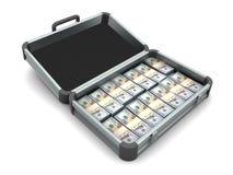 Aluminum case full of money Stock Images