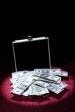 Aluminum case with money Stock Photo