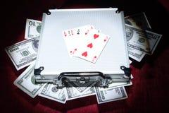 Aluminum case with money Royalty Free Stock Image