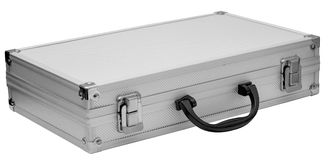 Aluminum case. For tools isolated on white background stock photo