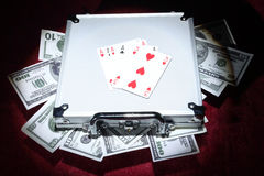 Free Aluminum Case With Money Royalty Free Stock Image - 24428386