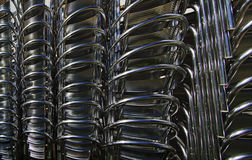 Aluminum Chairs Stacked Stock Photo