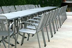 Aluminum chairs and tables Royalty Free Stock Images