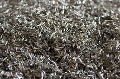 Aluminum chips. Gathered for recycling stock images