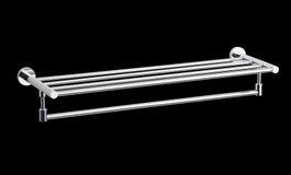 Aluminum chrome  towel hanger. Nice design chrome aluminum cloths or towels hanger on black background Stock Images