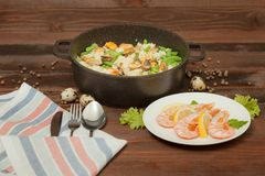Aluminum cookware with non-stick coating royalty free stock photo