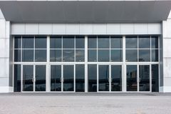 Aluminum composite and entrance door of exbihition hall.  Stock Photos