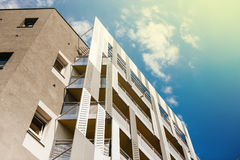 Aluminum concrete facade and aluminum panels against blue clear Royalty Free Stock Image