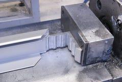 Aluminum corner press. A industrial aluminum corner press Stock Image