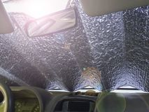 Free Aluminum Coverlet On The Windshield Of The Car To Protect From Heat And Sun Inside. Royalty Free Stock Photos - 122630208