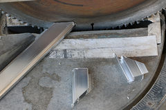Aluminum cutting machines are in use. Cutting aluminum, which works very well Royalty Free Stock Images