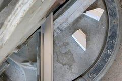 Aluminum cutting machines are in use. Aluminum cutting machines are in use work Stock Photos
