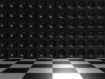 Aluminum Dark Silver Metallic And Checker Background. 3d Render Illustration Royalty Free Stock Images