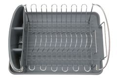 Aluminum dish rack shelf with a gray tray Royalty Free Stock Images