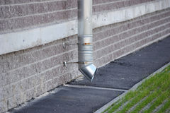 Aluminum downspout. To drain water from the roof stock images