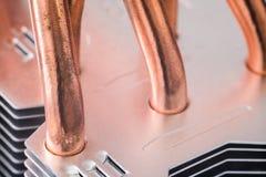 Aluminum element med den kopparnärbilden för värmerör med härlig bokeh arkivfoto