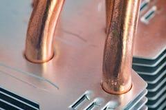 Aluminum element med den kopparnärbilden för värmerör med härlig bokeh arkivfoton