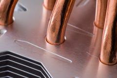 Aluminum element med den kopparnärbilden för värmerör med härlig bokeh fotografering för bildbyråer
