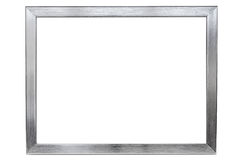 Aluminum empty photo frame on white background. Aluminium empty photo frame isolated on white background with clipping path Royalty Free Stock Image