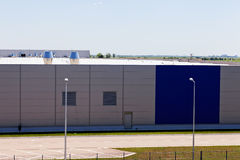 Aluminum facade. Details of aluminum facade and aluminum panels on industrial building Stock Image