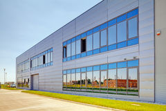 Aluminum facade on industrial building Stock Photo