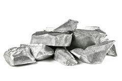 Aluminum. 99.99% fine aluminum isolated on white background stock image