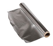 Aluminum foil roll isolated on white with clipping path Royalty Free Stock Photography