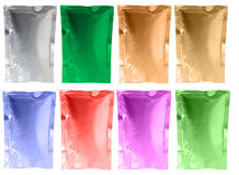 Aluminum foil sachet. Varity colors of aluminium foil sachets Stock Photography