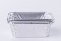 Aluminum foil tray on white. Background royalty free stock photo