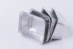 Aluminum foil tray on white. Background stock images