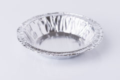 Aluminum foil tray on white. Background royalty free stock images