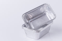 Aluminum foil tray on white. Background stock photos