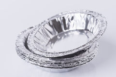 Aluminum foil tray on white. Background stock image