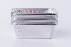 Aluminum foil tray on white. Background royalty free stock photography