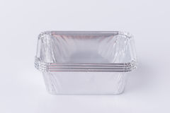 Aluminum foil tray on white. Background stock photography