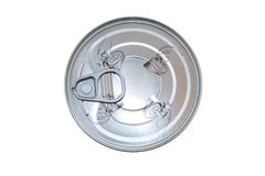 Aluminum food can viewed from above Royalty Free Stock Images